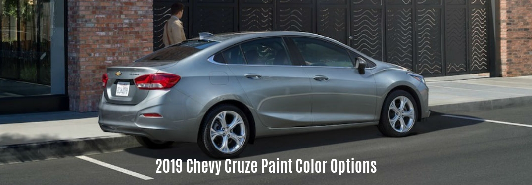 2019 Chevy Cruze Paint Color Options, text below a passenger side exterior view of a gray 2019 Chevy Cruze