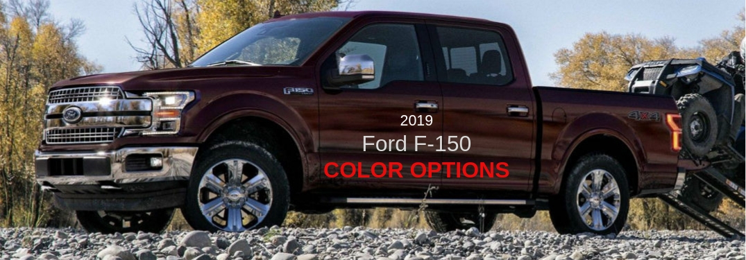 2019 Ford F-150 Color Options, text on a driver side exterior image of a red 2019 Ford F-150