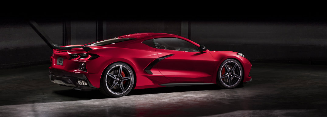 right side view of red chevy corvette stingray