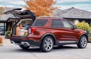 2020 Ford Explorer with rear hatch opened