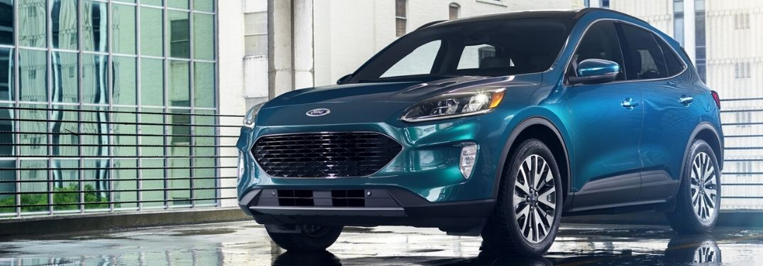 2020 Ford Escape Titanium trim level from front drivers side parked in parking garage