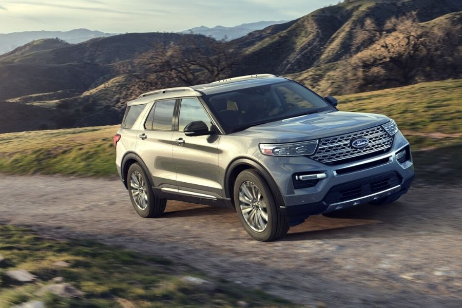 2020 Ford Explorer driving down trail from exterior front passenger side