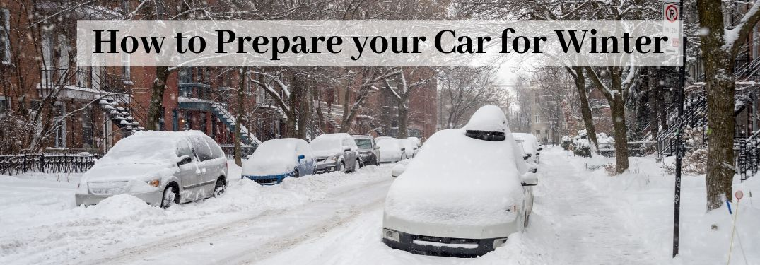 Cars on street covered in snow with how to prepare your car for winter in text above
