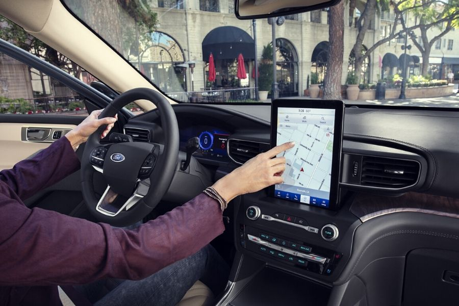 Interior of 2020 Ford Escape showing front dash and infotainment touchscreen