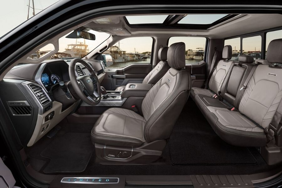 Interior of 2020 Ford F-150 showing the seats from driver side