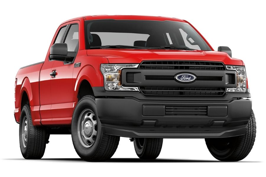 Red 2020 Ford F-150 XL from exterior front passenger side