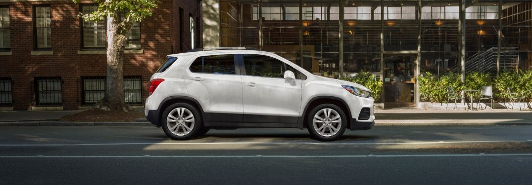 White 2020 Chevrolet Trax parked on street from exterior passenger side