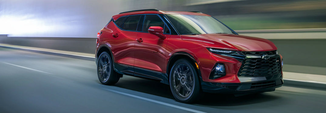2020 Chevy Blazer red exterior front fascia passenger side driving