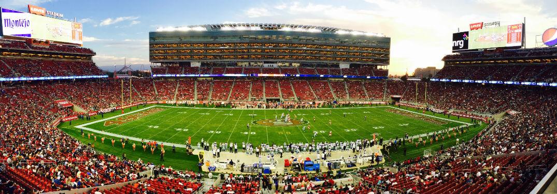San Francisco football stadium full of fans watching nfl football game