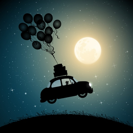 car being carried into space with balloons