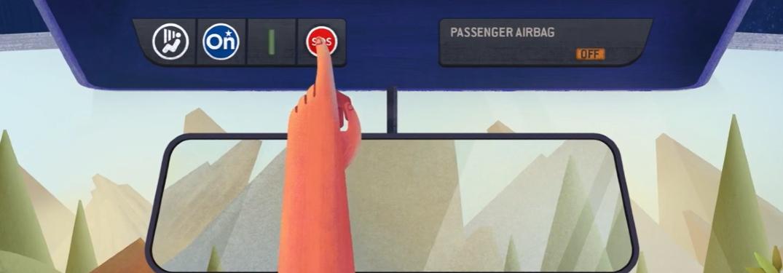 hand pressing sos button