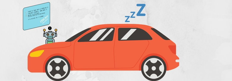 An orange car falls asleep as the sensor malfunctions