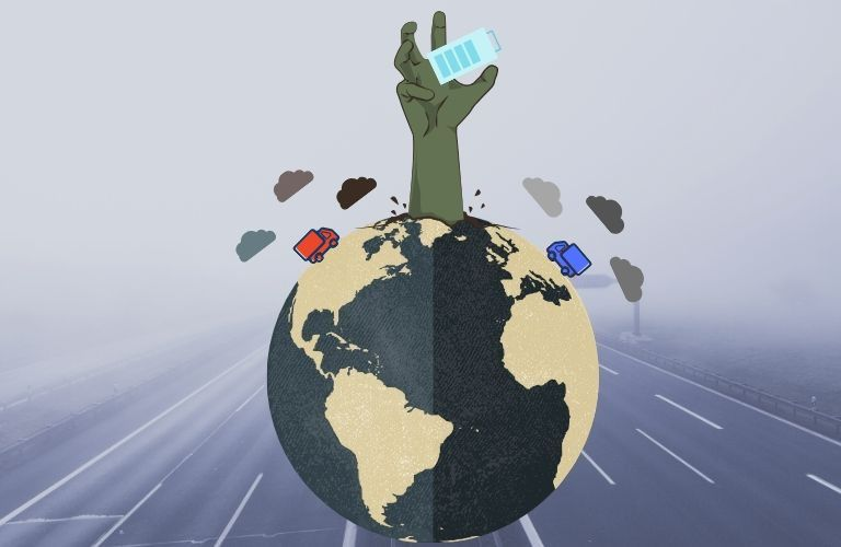 A hand bursts forth from a globe polluted by trucks, holding forth an electric battery as the final possible solution.