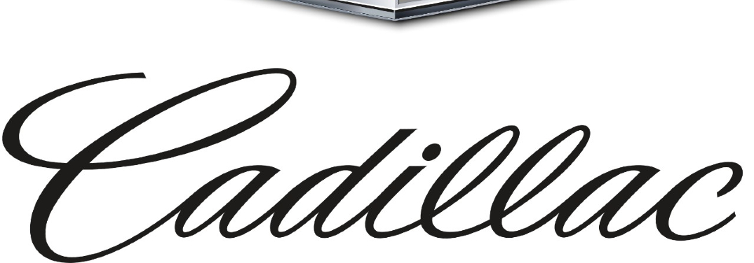 The word Cadillac scrawled on a white background