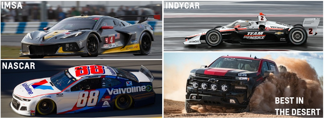 Four different Chevy racing vehicles on a grid.