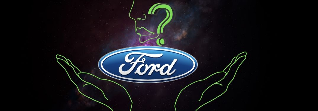A mysterious ephemeral figure holds the Ford logo afloat in the cosmos