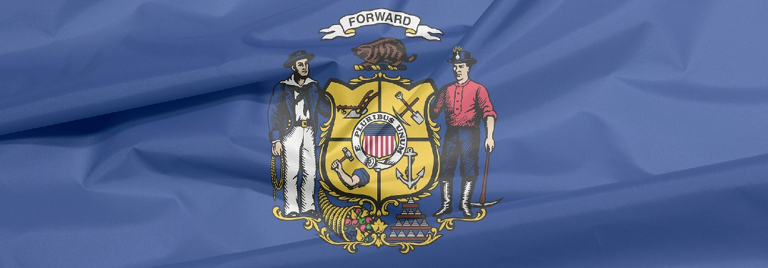 Close-up on Wisconsin state flag