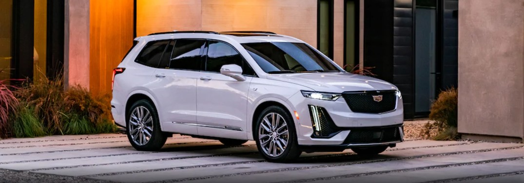 Front passenger angle of a white 2021 Cadillac XT6