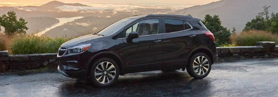 Front driver angle of a black 2021 Buick Encore