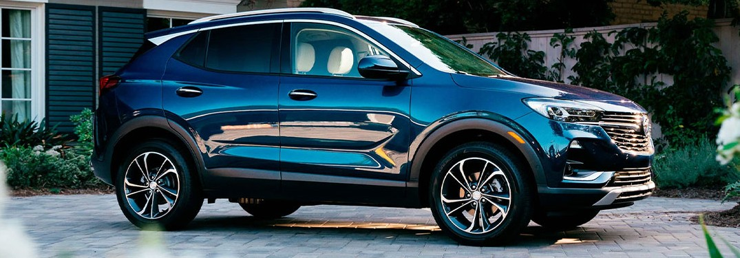 A blue-colored 2021 Buick Encore GX parked outside