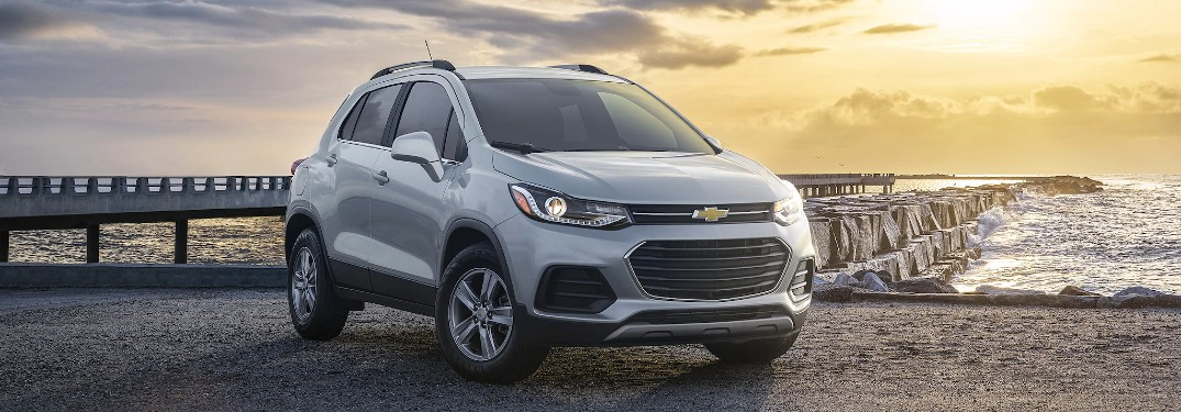 Front passenger angle of a silver 2021 Chevrolet Trax
