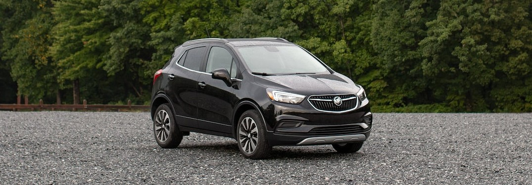 Front passenger angle of a black 2021 Buick Encore