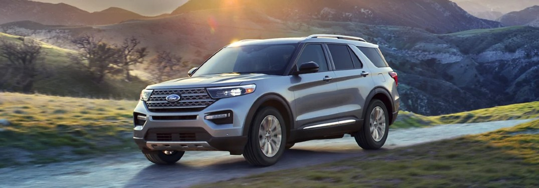 Front driver angle of a silver 2021 Ford Explorer