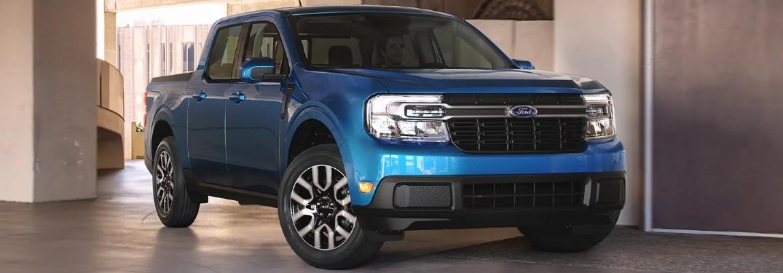Front passenger angle of a blue 2022 Ford Maverick