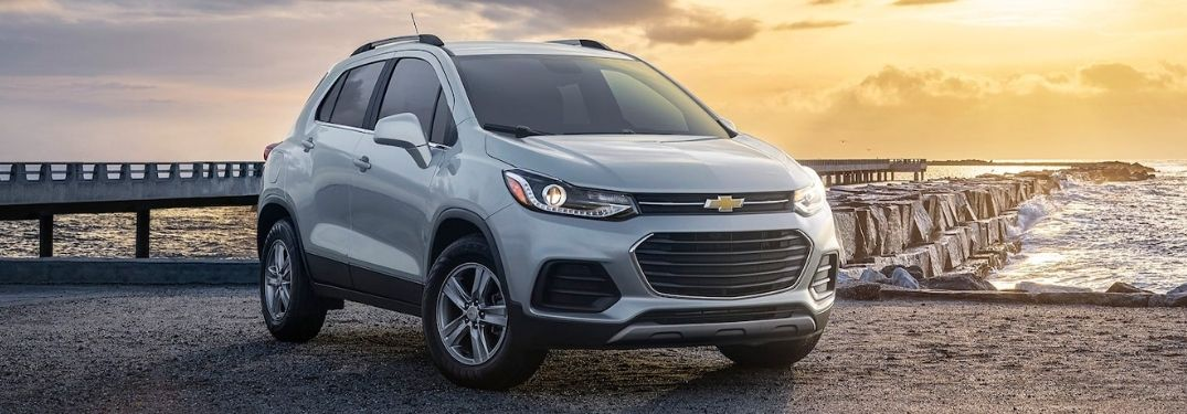 A silver 2021 Chevrolet Trax during the sunset