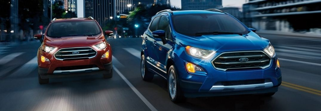 A blue and red 2021 Ford EcoSport on the road