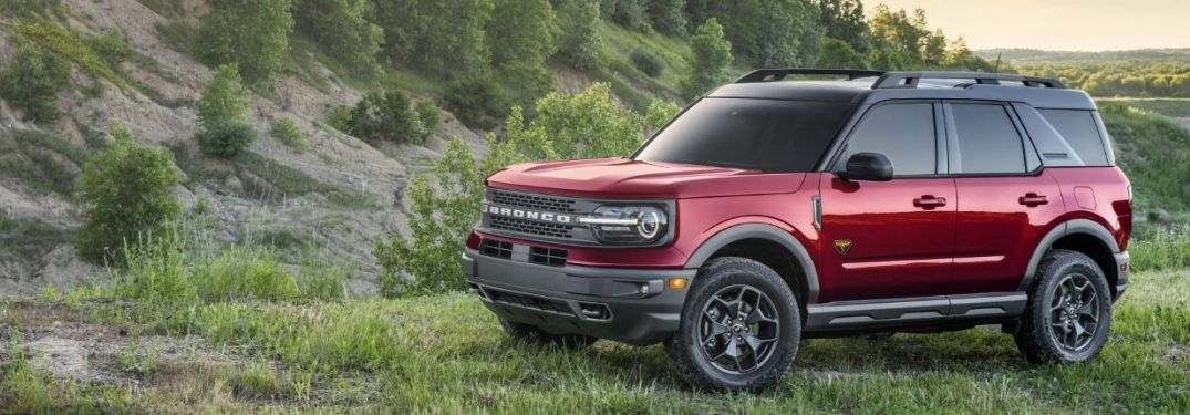 The red 2021 Ford Bronco surrounded by greenery