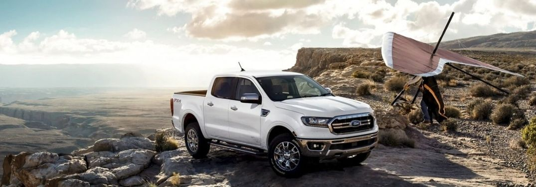 White 2021 Ford Ranger on top of a mountain