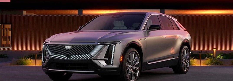 The 2023 Cadillac Lyriq in the evening.