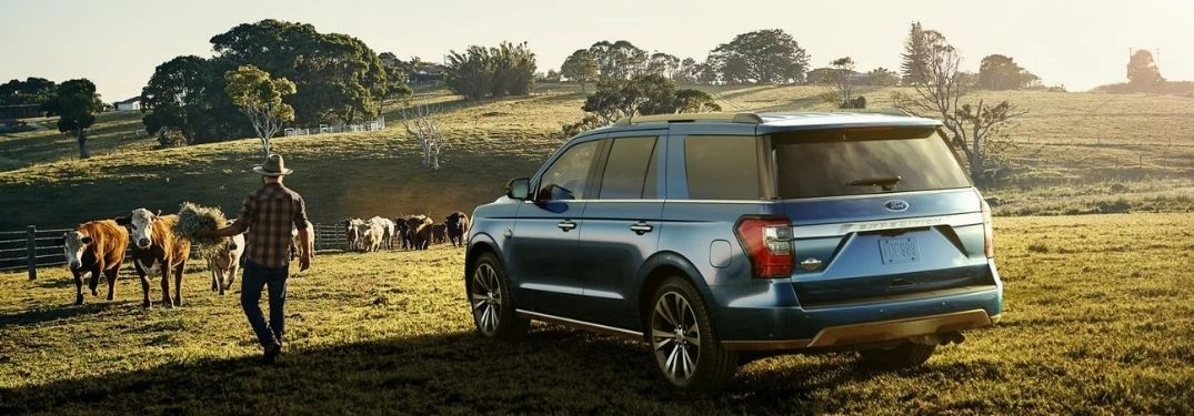 The 2021 Ford Expedition in the field with a man.