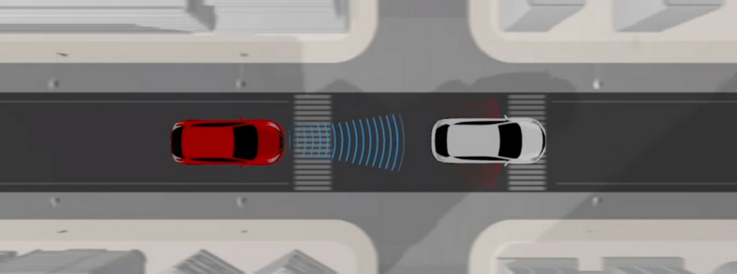 Screenshot from AEB video tutorial, featuring one red and one white car