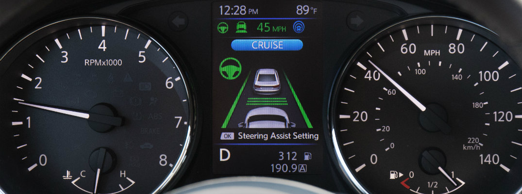 View of a Nissan vehicle's dashboard with ProPilot Assist