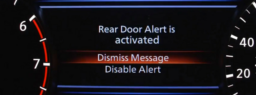 Close-up view of Nissan RDA notification message
