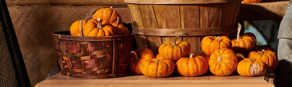 pumpkins in a basket on a table