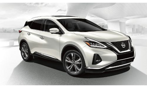 2020 Nissan Murano white on white concept background facing right at half profile to passenger side