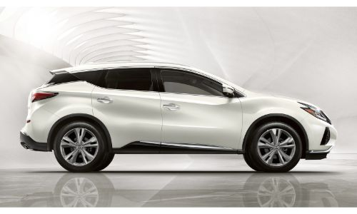 2020 Nissan Murano white paint facing right full profile white background larger wheels