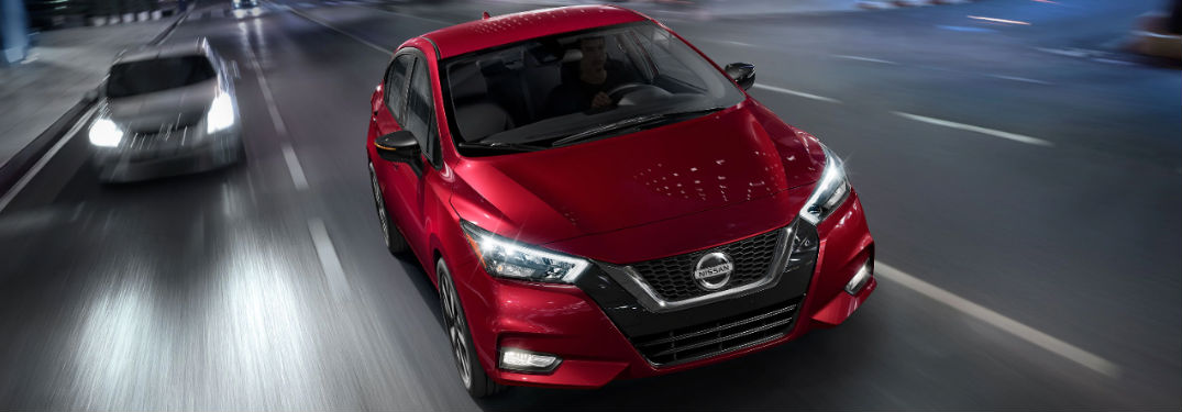 2020 Nissan Versa driving on a road