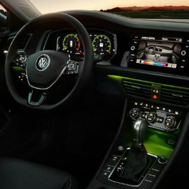 2019 Volkswagen Jetta dash with green ambient lighting