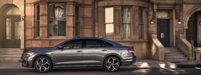 2020 Volkswagen Passat outside a city townhouse