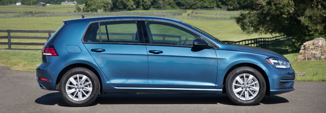 profile view of a blue 2018 Volkswagen Golf