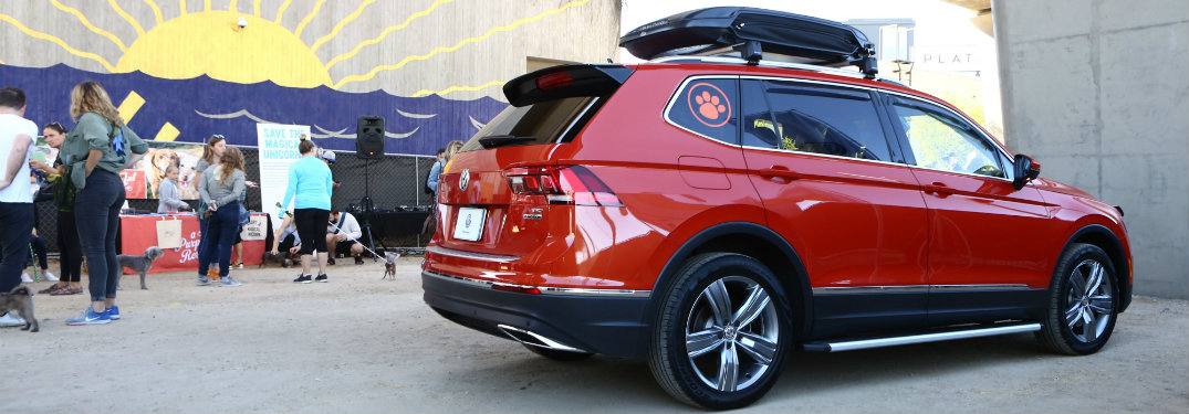 side view of a concept 2018 VW Tiguan with pet accessories at the Wags Wheels and Waffles charity event