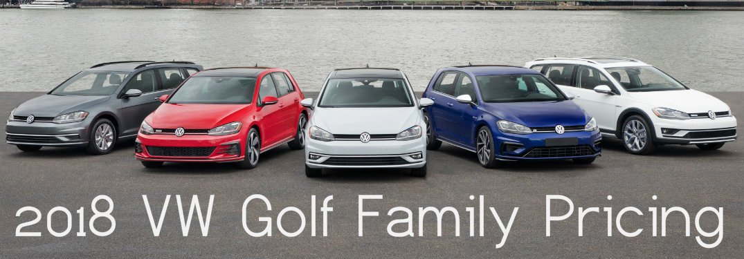 "words ""2018 Volkswagen Golf Family Pricing"" with five VW Golf models shown"