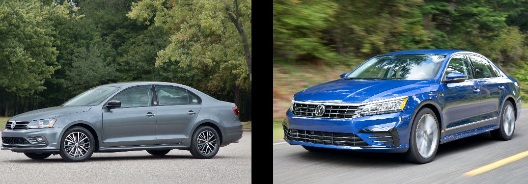 side by side images of the 2018 Volkswagen Jetta and the 2018 Volkswagen Passat sedans