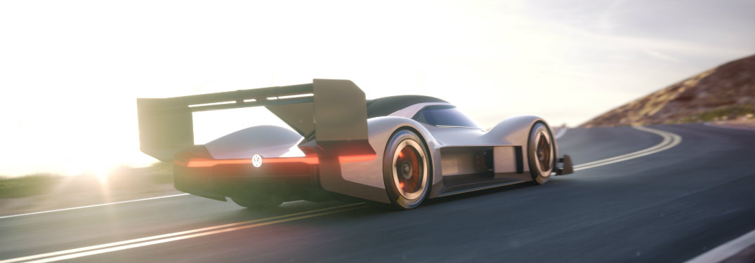 rear view of the Volkswagen I.D. R Pikes Peak and its fantastic futuristic spoiler