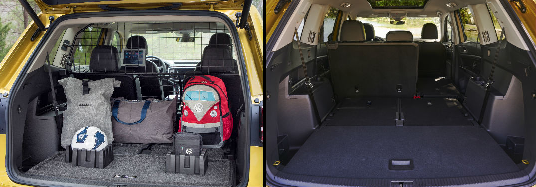two views of the 2019 VW Atlas rear cargo area