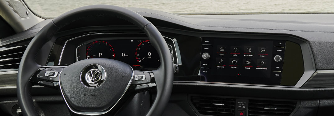 steering wheel and infotainment system of the 2019 Volkswagen Jetta SEL Premium